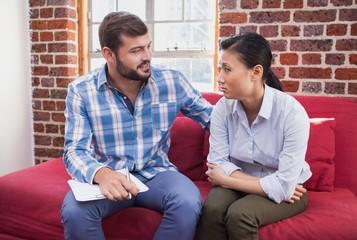 Therapist advising his listening patient