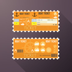 Retro boat ticket card Classic design.