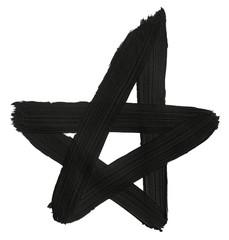 Black hand painted star. Grunge symbol.