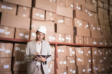 Manager with diary against boxes in warehouse