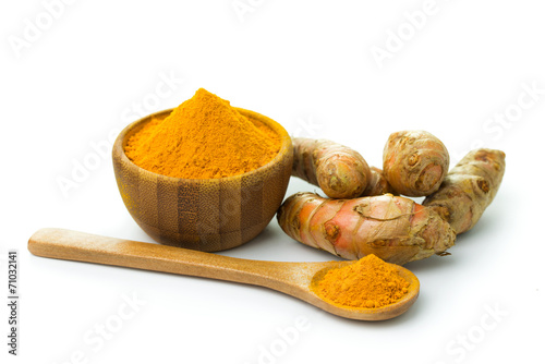Deurstickers Kruiden Turmeric and turmeric powder