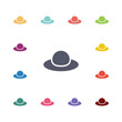 hat flat icons set.
