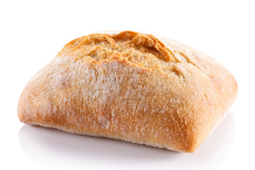 Bread roll on white background