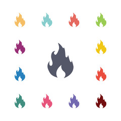 fire flat icons set.