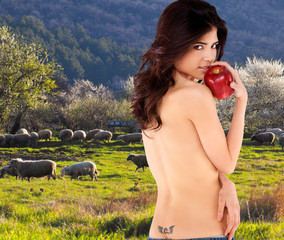 naked woman apple nature