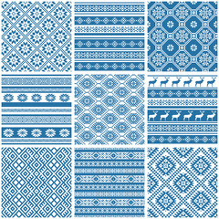 Collection set of 9 blue and white ornamental ethnic patterns