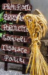 Wooden Italian restaurant banner