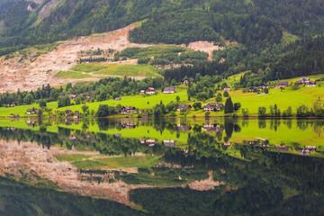 Idyllic Grundlsee lake in Alps mountains, Austria