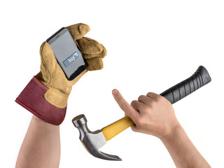 hand construction worker with hammer and smartphone, purchase in
