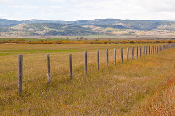 ranch country  fence in fall