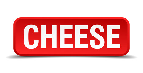 cheese red 3d square button on white background