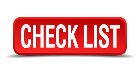 check list red 3d square button on white background