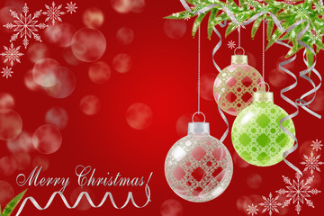 Red Christmas background with Christmas balls and fir