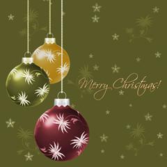 Green Christmas background with Christmas balls
