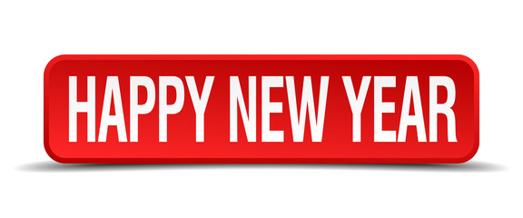 happy new year red 3d square button on white background