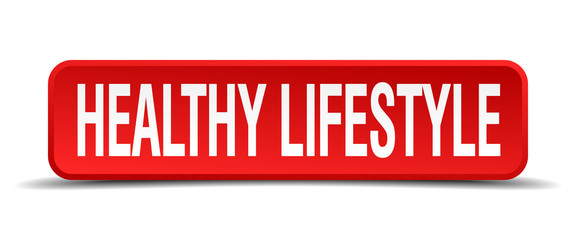 healthy lifestyle red 3d square button on white background