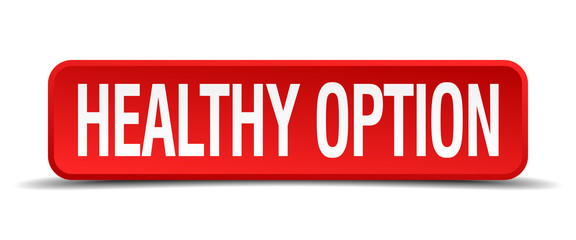 healthy option red 3d square button on white background