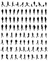 Black silhouettes of running