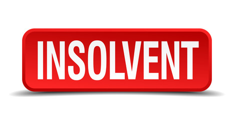 Insolvent red 3d square button on white background