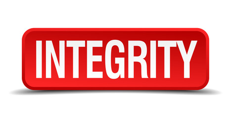 Integrity red 3d square button on white background