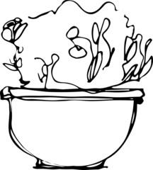 sketch flower room in a flowerpot