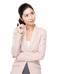 Asian business woman think of idea