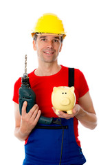 worker with drill and piggy bank