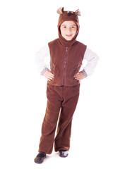 Cute little boy in a bear suit