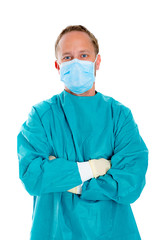 young doctor with surgical mask and green coat