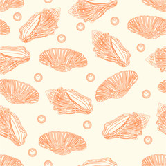 Seamless texture shells and pearls vintage vector