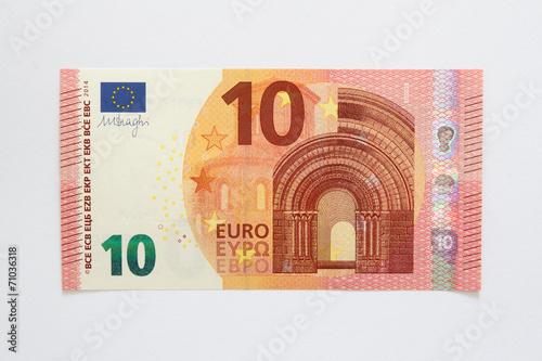 Leinwanddruck Bild Vorderseite neuer Zehn Euro Geldschein aus der Europa-Serie