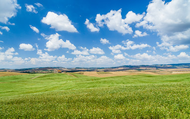 Scenic Tuscany landscape with rolling hills, Val d'Orcia, Italy
