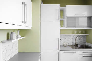 Simple kitchen in white colors