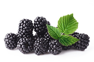 Fresh blackberry with green leaf on white background
