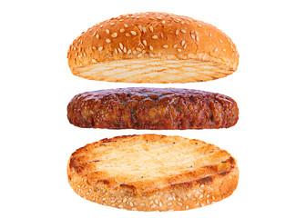 Bun and veal rissole ingredient hamburger