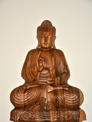 wodden sitting buddha
