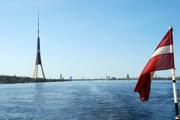 Latvia, Riga. Television tower against a panorama of Riga