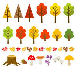 Autumn tree and mushroom set
