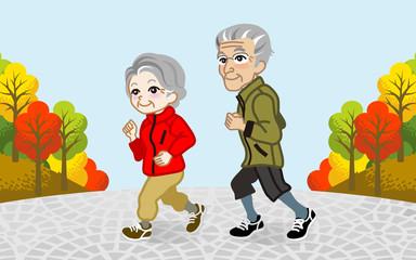 Running Senior Couple in the Autumn park