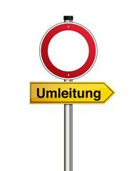 Umleitung, Durchfahrt verboten Schild