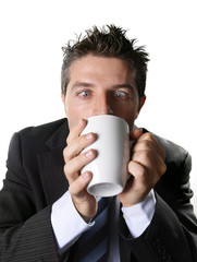 business man drinking cup of coffee crazy in caffeine addiction