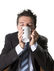 addict businessman drinking cup of coffee in caffeine addiction