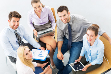 Young business people, high angle view