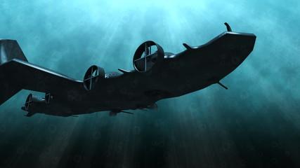 Futuristic submarine underwater scene