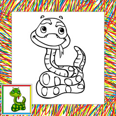 Funny cartoon snake coloring book