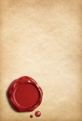 Old parchment paper with red wax seal