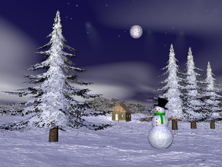 Christmas snowman at the mountain - 3D render