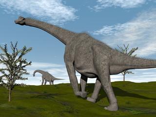 Brachiosaurus dinosaurs walk - 3D render
