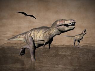 Tyrannosaurus dinosaurs - 3D render