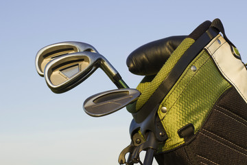 Golf clubs in a green golf bag